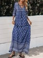 V Neck Blue Boho Maxi Dress