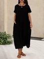 Solid Pockets Short Sleeve Simple Midi Dress