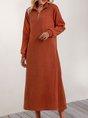 Brown V Neck Plain Casual Shift Midi Dress