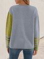 Green Color-block Solid Long Sleeve Sweater