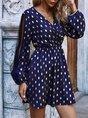 Long Sleeve V Neck Mini Dress