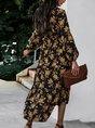 Long Sleeve Floral V Neck Midi Dress