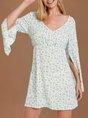 Light Blue Chiffon V Neck Floral Half Sleeve Dress