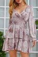 Light Purple Ruffled Flounce Sweet Ombre/tie-Dye Dress